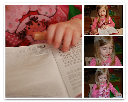 Lydia teaching me the story of baby De-dus.