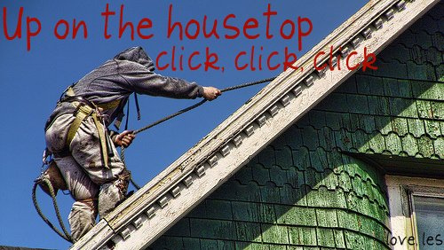 roofer christmas card up on the housetop