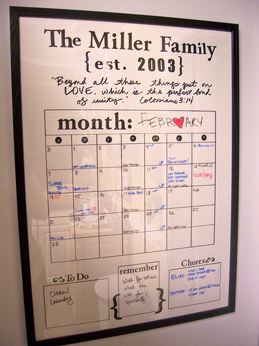 Family Calendars : Diy dry erase family calendar