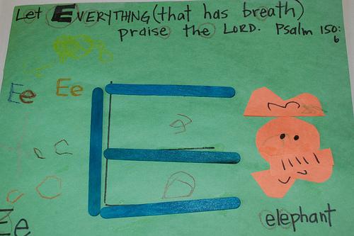 alphabet craft scripture letter e