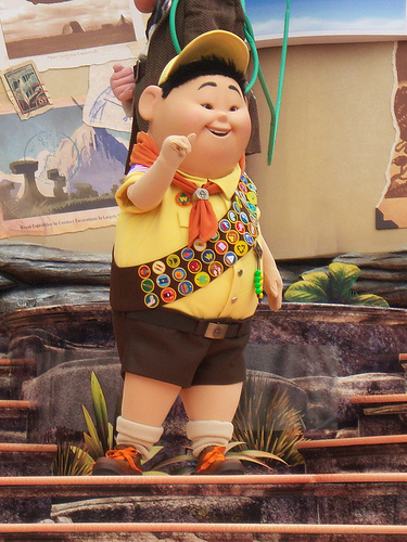 Russell the Wilderness Explorer on Disney/Pixar's UP Pre-Parade Float
