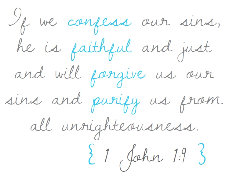 1 John 1:9 FREE printable to go with ohAmanda's new ebook, Praying God's Word for Your Kids