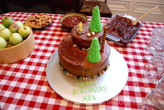 Camping Birthday Party Cake with Ice Cream Cone Trees