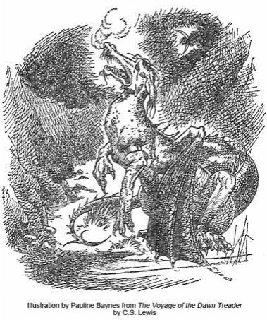Eustace in the Voyage of the Dawn Treader. Illustration by Pauline Baynes