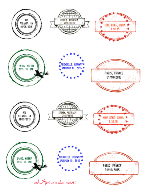 Passport Stamps // free download from ohAmanda.com
