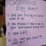 The sisterchicks eat a pickle.