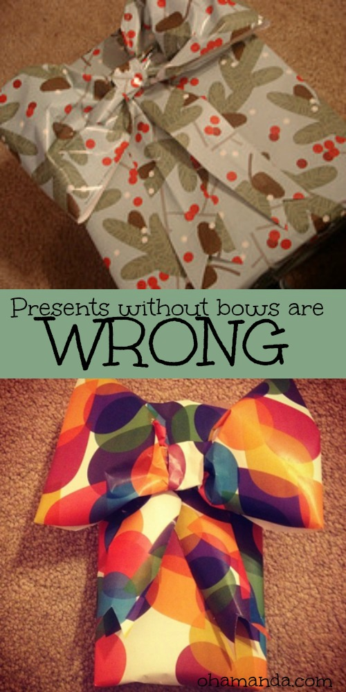 Presents without bows are WRONG // DIY wrapping paper bow for gifts. ohAmanda.com