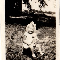 June & her teddy on her kiddy car. 1933. 2 years 11 months.