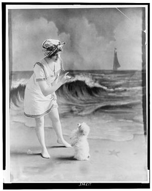 Young woman in bathing suit with small dog in ...
