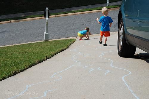 sidewalk chalk river