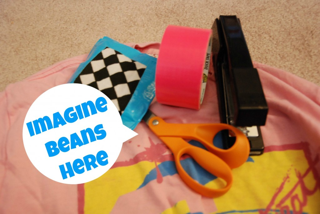 DIY No Sew BeanBags with Duct Tape & Upcycled Tshirts!