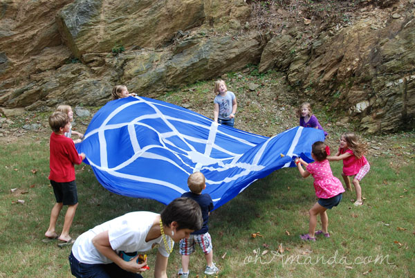 Parachute games for a Flying Ace Airplane Party