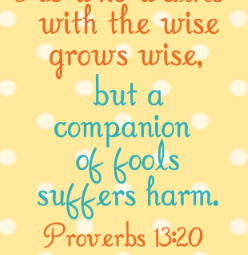He who walks with the wise grows wise, but a companion of fools suffers harm. Proverbs 13:20