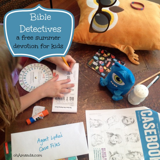 Bible Detectives: a free printable summer devotion for kids from ThrivingFamily.com // a review from ohAmanda.com