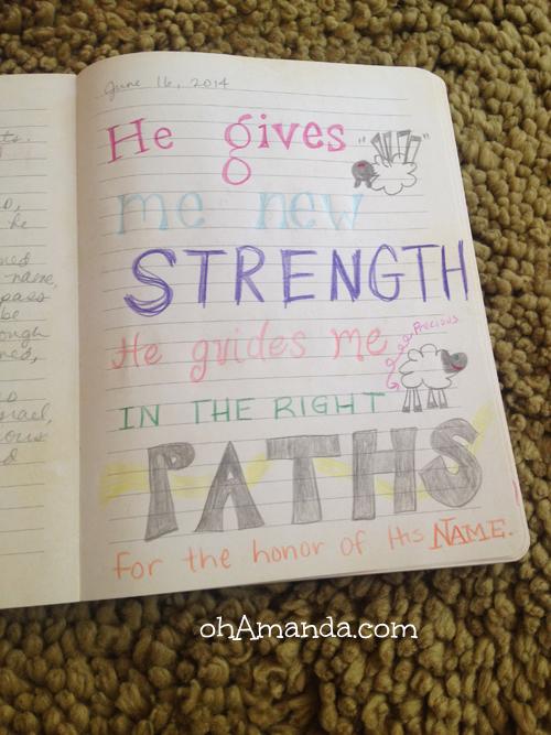 scripture doodle psalm 23