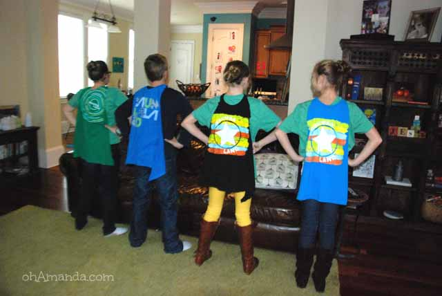 Operation Christmas Child Crafting Party // make super hero capes from old tshirts! // ohAmanda.com