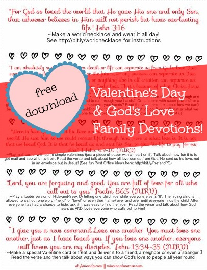 Free download with God's Love/Valentine's Day family devotion time. // ohAmanda.com and MissionalWomen.com