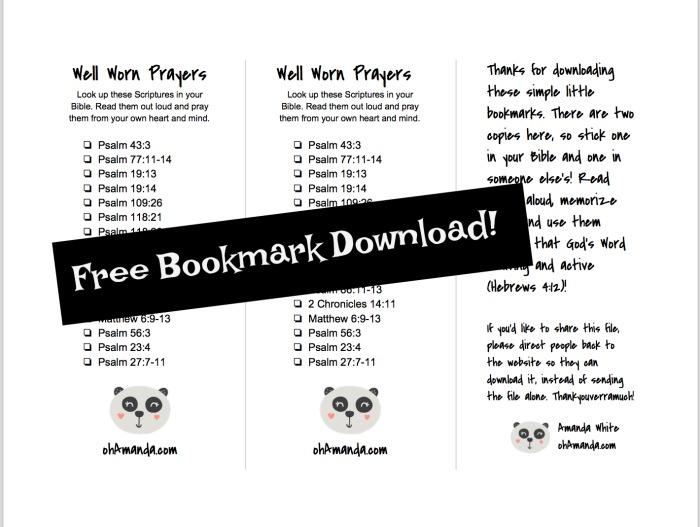 Scripture Prayers Bookmark Download free at ohAmanda.com